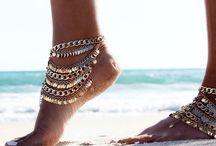 Pretty & boho foot jewelry / Gypsy boho & pagan bare foot sandles, anklets & toe rings, some I admire, some I collect & some made by me