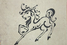 Horses in Ink / Pen and Ink or Brush and Ink Equine Art - Equestrian design