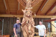 Wood Carving / Dřevořezby - obličeje, postavy, TIKI, zvířata (owl)