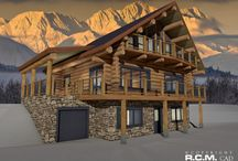1485 sq / ft Hamlet / The Hamlet full scribe log home was designed for a ski resort location. The lot has access road at top and bottom that allows level entry to main floor at top and to walkout basement at bottom of lot. Basement was designed with a two bedroom fully contained rental apartment with its own garage. Main house is a handcrafted log construction with two bedrooms and alcove bed at second floor, also with its own garage. This design can be used as a top or bottom entry property.