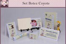 Set Botez Coyote / BebeStudio11 - Personalizam invitatii, marturii, plicuri de bani, meniuri, nr de masa pentru botez.