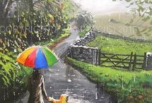 Umbrella Fun / More of my paintings with colour, rain and wellies !