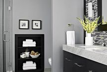 Love this colour bathroom with the dark cabinet and tiles very smart