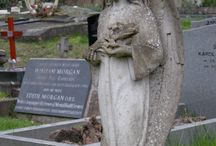 The Angels of Highgate / Statues of angels in Highgate Cemetery, London.