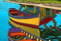 Barcos pinturas sobre tela