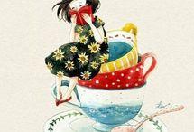tazas de te ilustraciones