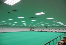 Clacton on sea Bowls Club / The removal of existing and installation of a 900m2 suspended ceiling in one area. Installation taken place over the existing bowling carpet with special care taken to protect the surface