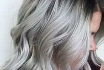 Grey Silver hair Ombre Dark Roots
