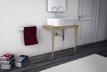 MOOD, design Meneghello Paolelli Associati / Consolle in legno in rovere, rovere sbiancato,legno laccato nero o bianco lucido
