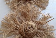 Burlap,tassel and pom poms