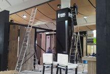 Pawilon w budowie. DOMOTEX 2014 / Budowa pawilonu, w którym prezentowane będą podłogi Chapel Parket podach Targów DOMOTEX 2014 w Hanowerze.