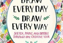 Draw Every Day Draw Every Way / I wrote this book to help you conquer the intimidating prospect of filling 365 blank pages,  It's divided into monthly themes, with undated daily prompts that suggest what to draw each day. You can work through the journal from front to back, or jump around and draw whatever appeals to you at the time.