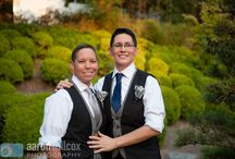 Lesbian wedding outfit ideas. / Ideas for vest and flower combinations, wedding dress and suit ideas for today's lesbian brides.