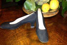 BRUSCHI 60s 70s / Leather and grosgrain décolleté shoes