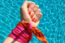 Silkie Ties SS16 / Add a pop of colour with our silkies! Tie our bright Pink and Orange silkie around your handbag handle, wrap around your wrist as a bracelet or whip your hair up and use as a bandanna. Fabric: 100% Silk Shop: