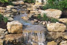 Natural stone water cascade