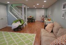 Basement playroom and shelving