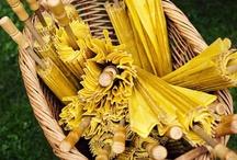 Y E L L O W / A basket of sunny umbrellas for guests. #yellow #umbrella #wedding