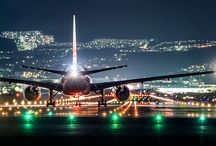Air port run way at night