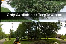 How to use your riding mower or zero turn to move fallen tree limbs and other trimmings with ease. / Stop moving hard to move outdoor debris like tree limbs and storm debris using a wheel barrow or trash can and start using the tarp tow device that is a new rear attachment device for riding lawn mowers and zero turns that uses standard plastic sheeting.  It is time to say no to manually moving your outdoor debris and starting putting all your work onto your riding lawn mower or zero turn.  It saves time and your back in the long run.
