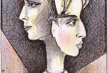 Picture-illusions- Shmokhin / Картинки-обманки / / Совмещение видимых и завуалированных изображени на одной плоскости.