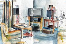 Sketching Interiors / Sketching interior scenes in pen, watercolor and pencil
