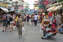 """Khaosan Road Bangkok / Khao san road is known as the """"backpacker ghetto"""" as it offers various budget accommodations to travelers starting at the very inexpensive price of 200 baht.  """"Khao san"""" translates to """"milled rice""""."""