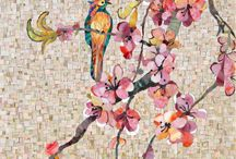 Bird and apple blooms mosaic