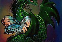 Драконы,девушки,русалки