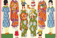 Japanese paper dolls costumes
