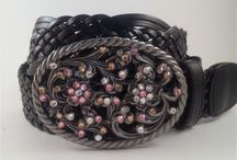 Fashion Belt Buckles / Belt Buckles handmade with Swarovski Crystals.  All buckles come with a leather belt.
