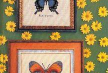 vyšívání motýli, brouci