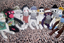 Sock Monkeys by PepeSherinadesigns.com / We Upcycle discarded clothing into new higher valued creative innovative sock monkeys! Visit our shop on the web at www.pepesherinadesigns.com