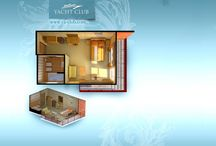 Interior rooms hotel in 3d / This work was performed as part of a larger project Hotel Yacht Club. All rooms are built according to the actual dimensions and designs that are available as a result of additional information for each room, which gives visitors a maximum of information about the room in which they could live.