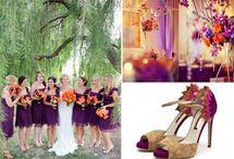 Orange,  Purple & Gold / Orange, purple & gold wedding theme with natural confetti ideas from The confetti cone company www.confetti-cones.co.uk