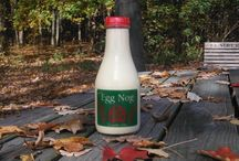 Hartzler's Premium Egg Nog / Available November through late December. Made with our whole milk, our eggnog is a delicious treat for the holidays. It makes a great hostess gift for Christmas and other holiday parties. Comes in a newly designed and dated quart bottle each year.