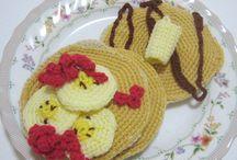 crochet pancakes & sliced banana