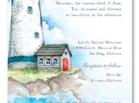 Beach Weddings / Beach wedding invitations, unique tropical theme, island wedding invitations (Hawaii, Caribbeans, Puerto Rico), beach theme invitations, from ForeverFiances Weddings