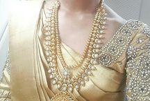 Gold silk saree