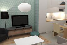 Un appartement jeune et épuré / Voici la décoration d'un petit appartement, dans un style jeune et épuré. Papier peint graphique pour habiller l'espace, un intérieur clair et simple, et des petites touches de bleu pour égayer.
