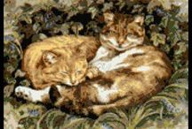 Cats cross stitch / Cats and kittens in cross stitch kits, pattern and charts / by Yiota's cross stitch