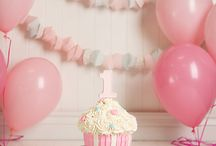Aliye - Cake Smash / First Birthday Cake Smash Ideas  - loving the vintage look - balloons, pearls, topless with tutu and headband - pastel pink and maybe rose gold as already using pink and grey for birthday party - remember high chair (storm grey in colour) - fancy cake stand - frilly romper