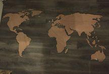 Houten wereldkaart - worldmap wood / Houten wereldkaart decoratie, zelf gemaakt! Zelf geprint, geknipt en gezaagd!!