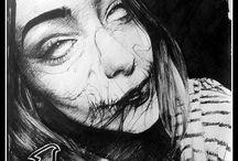 Dark Drawing / #blood #morbid #noeyes #women #dark