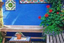 Mexican colours benches garden