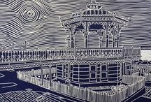Sue Collins / Sue uses a combination of photography and sketching to create her Linocuts.