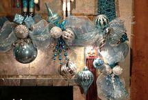 decoracion navidad azul y plata
