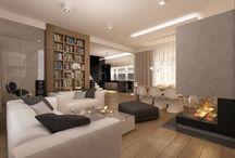 Projekt wnętrza salonu domu jednorodzinnego pod Warszawą - Tissu. / Projekt wnętrza salonu domu jednorodzinnego pod Warszawą – Tissu. Aranżacja eleganckiego oraz przytulnego pomieszczenia. Naturalne barwy i designerskie krzesła.