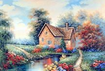 Country Cottage Wall Decor Art Print Posters