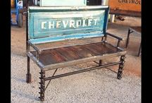 Outdoors Repurposed Furniture / Outdoor Repurposed wood metal furniture industrial steampunk mancave rustic or custom made by Raymond Guest at Recycled Salvage Design https://www.recycledsalvage.com
